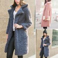 Womens Faux Fur Long Trench Coat Winter Warm Lapel Parka Jacket Outwear Overcoat