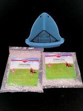 Kaytee Critter Litter Small Pet Corner Litter Box & 2 New 1 Lb Bags Of Litter