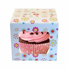 1 x Individual Cupcake Box Presentation Fairy Cake With Pattern Insert Window