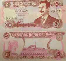 IRAQI IRAQ 1992 SADDAM HUSSEIN 5 DINAR UNC NOTE P-80 BUY FROM A USA SELLER !!!!!