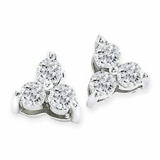 2ct Three Stone Diamond Earrings 14K White Gold