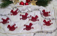 Weihnachten Streudeko Streuteile 8x SCHAUKELPFERD aus Filz (Samtartig)Dunkel Rot