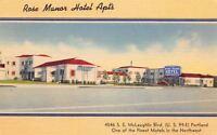 Portland Oregon~Rose Manor Hotel Apartments~McLaughlin Blvd~US 99~1950 Linen PC