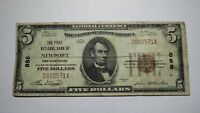 $5 1929 Newport New Hampshire NH National Currency Bank Note Bill Ch .#888 Fine