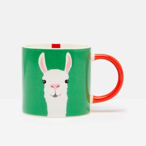 Joules Llama Mug, Green Coffee Tea Cup Fun Colourful Animals Drinks Ceramic Home
