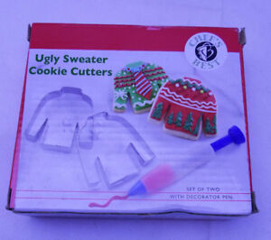 Ugly Christmas Sweater Cookie Cutter Set metal Decorator Icing pen