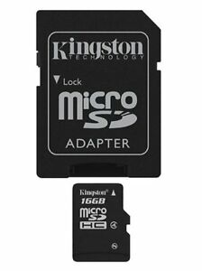Kingston 16GB Micro SD HC & Adapter Retail Pack Micro SDHC Class 4 High Speed