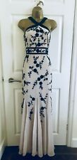 Monsoon Cream Long Sequinned Beaded Cruise Occasion Formal Maxi Dress £190 12