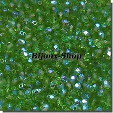 100 Perles de Boheme Facette 4 mmm Péridot AB
