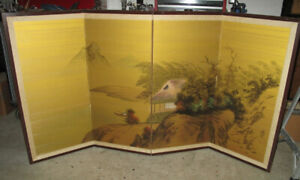 Japanese Chinese 4 Panel Folding Screen Painted 72x35 antique