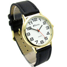 Ravel Mens Super-Clear Easy Read Quartz Watch Black Strap White Face R0105.05.1A