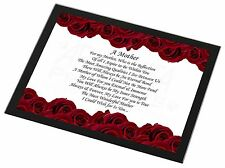 Mothers Day Poem Sentiment Black Rim Glass Placemat Animal Table Gift, MUM-2GP