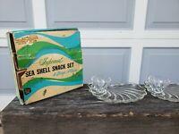 8 PC Vintage Hazel Atlas Sea Shell Snack Set With Box
