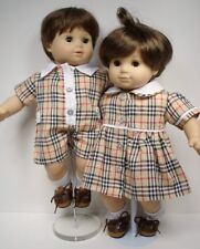Matching Doll Clothes Plaid Boy Romper & Girl Dress For Bitty Baby Twins (Debs)