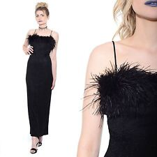 Vtg 90s Black MARABOU FEATHERS Metallic Lurex Prom Maxi Dress Gown Goth Bodycon
