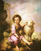 Oil painting Bartolome Esteban Murillo - Christ the Good Shepherd sheep in field