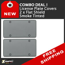 COMBO! 2 x Flat Shield License Plate Cover - Smoke Tinted - Polycarbonate