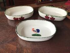 Group Of 3 oval Hand Painted Baking Dishes