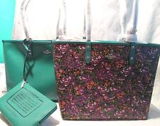 Coach Reversible Tote Handbag Roses Purple Green Free Pouch F576 (7-1046A)