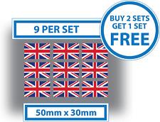 9 x UNION JACK UK Flag Bike Helmet Car Window Vinyl Stickers Decals 50mm x 30mm