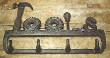 Cast Iron TOOLS Coat Hooks, Hat Hook, Key Rack Tool Hanger MAN CAVE Garage Barn