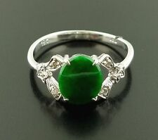 NEW 18K White Gold Ring w/ Jade Center Stone and Diamond Accents (TCW  0.06)