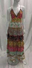 New Alice and Olivia Imogene Tier Ruffle Maxi Dress Multi Color Size 2 -BBJ120C1