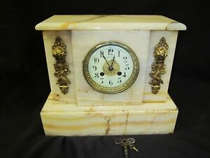 STUNNING ANTIQUE 1880 L. MARTI FRENCH 8 DAY CHIMING SOLID ONYX MANTLE CLOCK RUNS