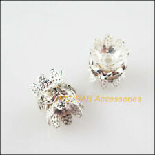 16Pcs Silver Plated Crystal Crown Spacer Beads End Caps 10mm