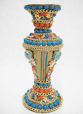 """Brass Vase Incense Holder Embellished with Beads Chain Colorful Mosaic 6.25"""""""