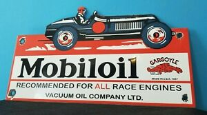 VINTAGE MOBIL GASOLINE PORCELAIN RACE CAR SERVICE STATION PUMP GARGOYLE SIGN