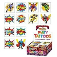 Super Heros Temporary Tattoos Boys Kids Childrens Party Bag Fillers (12 In Pack)