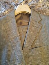 NWOT BURBERRY 100%WOOL GRAY GLEN PLAID SUIT MADE IN ITALY BY BELVEST 40R