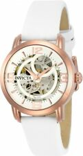 New Womens Invicta 22655 Objet D Art Automatic Skeleton Dial Leather Watch
