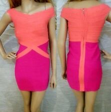 NWT bebe coral pink v neck contrast bandage party top bodycon dress XL 12 sexy