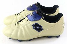 Lotto Vintage Mens Campionato PU Leather Soccer Cleat Bone & Blue Size 7 US