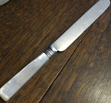 antique silver plate mother of pearl handle large DINNER KNIFE