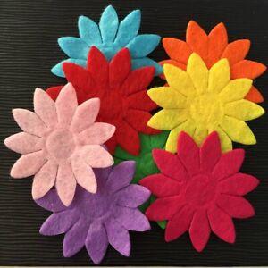 50PCS Mix 40mm Padded Felt Spring Flower Appliques Crafts Wedding Making DIY A73