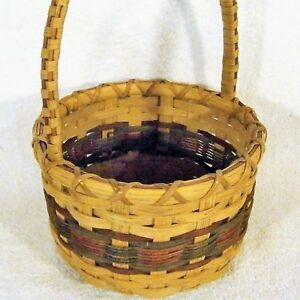 Round COUNTRY Wooden Strap Cane WICKER BASKET Red Green Holiday Wood Base Handle