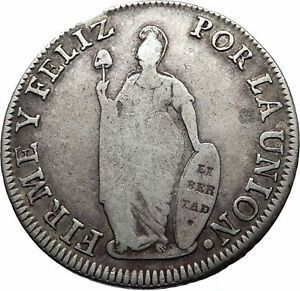 1834 PERU Silver South America 8 Reales Antique LIBERY COAT of ARMS Coin i71809
