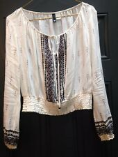Fab Boho Folk Peasant Cropped Top Blouse Size UK 10