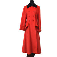 CELINE Vintage CC Long Sleeve Flare Coat Jacket Red Black #38 S08783b