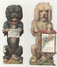 Zwei Hunde / Kalenderhalter ? 1888 stark geprägte Pappe * kurios !