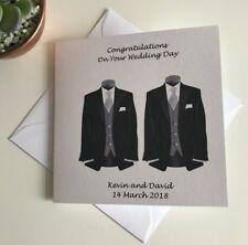 HANDMADE PERSONALISED CIVIL WEDDING PARTNERSHIP CARD SUITS MR & MR GAY WEDDING