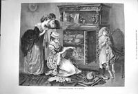 Original Old Antique Print 1873 Grandmothers Treasures Young Ladies Cabinet