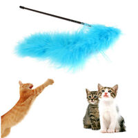 Cat Kitten Pet Teaser Turkey Feather Interactive Stick Toy Wire Chaser Wand S&K