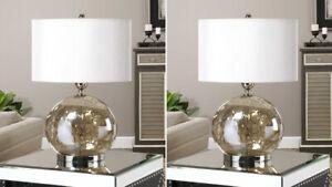 "PAIR PIADENA MODERN 27"" IRIDESCENT WATER GLASS TABLE LAMP UTTERMOST 27066"