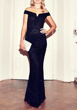 £65 EX QUIZ Navy Lace Sequin Bardot Fishtail Maxi Evening Dress 8 10 12 14 16 18