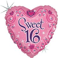 """Betallic Sweet 16 Sparkles and Swirls Holographic Heart Shaped Balloon-18"""""""