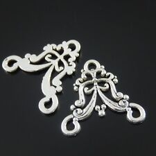 50pcs Vintage Silver Alloy Lace Flower Pendant Connector 38067